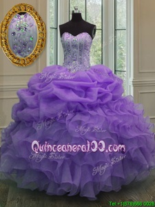 Hot Sale Spring and Summer and Winter Organza Sleeveless Floor Length Quinceanera Dresses andBeading and Pick Ups