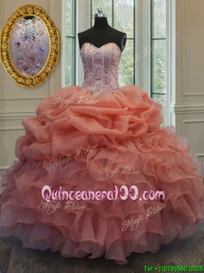 Fantastic Pick Ups Orange Sleeveless Organza Lace Up 15th Birthday Dress forMilitary Ball and Sweet 16 and Quinceanera