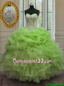 Discount Floor Length Spring Green Sweet 16 Quinceanera Dress Organza Sleeveless Spring and Summer and Fall and Winter Beading and Pick Ups