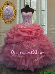 Glittering Floor Length Watermelon Red Quinceanera Dresses Organza Sleeveless Spring and Summer and Fall and Winter Beading and Pick Ups