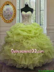 Cute Floor Length Lace Up Quinceanera Gowns Yellow Green and In forMilitary Ball and Sweet 16 and Quinceanera withBeading and Pick Ups