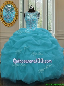 Comfortable Baby Blue Lace Up Scoop Beading and Pick Ups Quinceanera Dress Organza Sleeveless