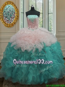 Sexy Blue And White Ball Gowns Organza Strapless Sleeveless Beading and Ruffles Floor Length Lace Up Sweet 16 Quinceanera Dress
