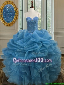 Pretty Blue Lace Up Quinceanera Dress Beading and Ruffles Sleeveless Floor Length