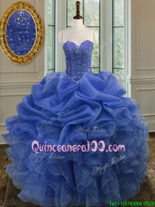 Glorious Blue Sleeveless Organza Lace Up Sweet 16 Quinceanera Dress forMilitary Ball and Sweet 16 and Quinceanera