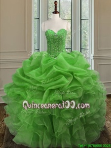 Cheap Floor Length Spring Green Sweet 16 Dresses Organza Sleeveless Spring and Summer and Fall and Winter Beading and Ruffles