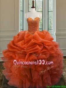 Orange Sweetheart Neckline Beading and Ruffles Sweet 16 Quinceanera Dress Sleeveless Lace Up