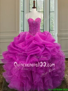 Discount Floor Length Lace Up Quinceanera Dresses Fuchsia and In forMilitary Ball and Sweet 16 and Quinceanera withBeading and Ruffles
