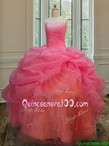 Modest Sleeveless Floor Length Embroidery and Pick Ups Lace Up Quinceanera Gowns with Watermelon Red