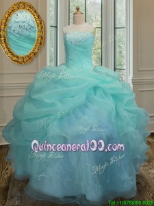 Sleeveless Embroidery and Pick Ups Lace Up 15 Quinceanera Dress