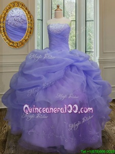 Nice Spring and Summer and Fall and Winter Organza Sleeveless Floor Length Quinceanera Gown andEmbroidery and Pick Ups