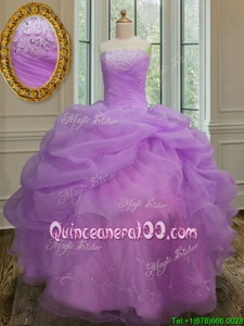 Pick Ups Floor Length Lilac Ball Gown Prom Dress Strapless Sleeveless Lace Up
