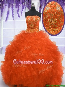 Spectacular Sleeveless Brush Train Beading and Appliques and Ruffles Lace Up Quinceanera Gown