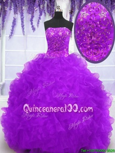 Best With Train Ball Gowns Sleeveless Eggplant Purple Quince Ball Gowns Brush Train Lace Up
