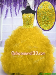 Shining Strapless Sleeveless Brush Train Lace Up Quinceanera Gown Gold Organza