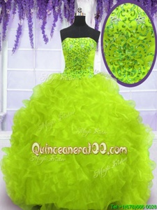 Customized Yellow Green Strapless Neckline Beading and Appliques and Ruffles Quinceanera Dresses Sleeveless Lace Up