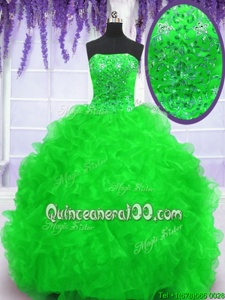 Elegant With Train Spring Green Quince Ball Gowns Strapless Sleeveless Brush Train Lace Up