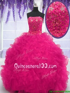 Vintage Strapless Sleeveless Organza Quince Ball Gowns Beading and Ruffles Brush Train Lace Up