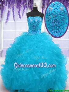 Superior Sleeveless Organza With Brush Train Lace Up Quinceanera Dresses inAqua Blue forSpring and Summer and Fall and Winter withBeading and Ruffles