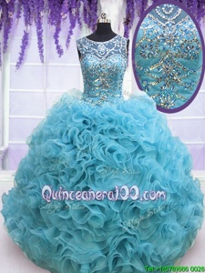Fantastic Organza Square Sleeveless Lace Up Beading and Ruffles Quinceanera Gown inBaby Blue