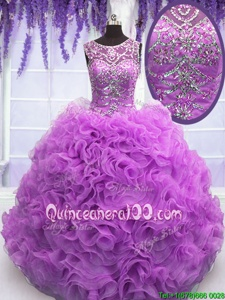 Popular Lilac Ball Gowns Scoop Sleeveless Organza Floor Length Lace Up Beading and Ruffles Sweet 16 Dresses