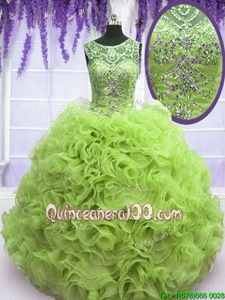 Graceful Spring Green Organza Lace Up Scoop Sleeveless Floor Length Sweet 16 Dresses Beading and Ruffles