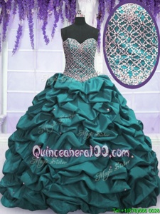 Eye-catching Floor Length Lace Up Sweet 16 Quinceanera Dress Teal and In forMilitary Ball and Sweet 16 and Quinceanera withBeading and Sequins and Pick Ups