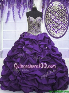 Sequins Pick Ups Floor Length Eggplant Purple Quince Ball Gowns Sweetheart Sleeveless Lace Up