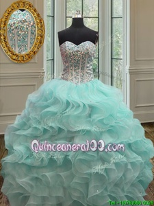 High End Apple Green Ball Gowns Sweetheart Sleeveless Organza Floor Length Lace Up Beading and Ruffles Quince Ball Gowns