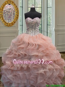 Dramatic Peach Ball Gowns Organza Sweetheart Sleeveless Beading and Ruffles Floor Length Lace Up Quinceanera Dress