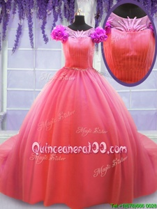 Deluxe Scoop Short Sleeves Hand Made Flower Lace Up 15 Quinceanera Dress with Watermelon Red Court Train