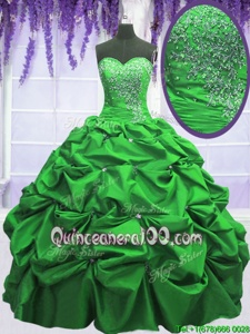 Smart Spring Green Sweetheart Lace Up Beading and Appliques and Pick Ups 15 Quinceanera Dress Sleeveless