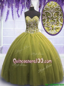 Classical Olive Green Sleeveless Floor Length Beading and Appliques Lace Up Quinceanera Gown