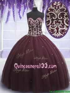 Dark Purple Lace Up Sweetheart Beading and Appliques Quinceanera Dress Tulle Sleeveless