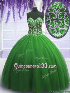 Popular Green Ball Gowns Tulle Sweetheart Sleeveless Beading Floor Length Lace Up Quinceanera Dress
