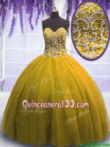 Glamorous Floor Length Yellow Quinceanera Dress Tulle Sleeveless Spring and Summer and Fall and Winter Beading