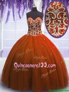 Dazzling Floor Length Rust Red Quinceanera Gown Sweetheart Sleeveless Lace Up