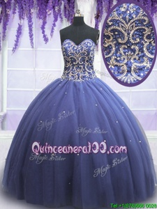 Artistic Beading 15th Birthday Dress Purple Lace Up Sleeveless Floor Length