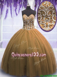 Suitable Tulle Sweetheart Sleeveless Lace Up Beading Sweet 16 Quinceanera Dress inBrown