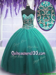 Sophisticated Ball Gowns 15th Birthday Dress Turquoise Sweetheart Tulle Sleeveless Floor Length Lace Up