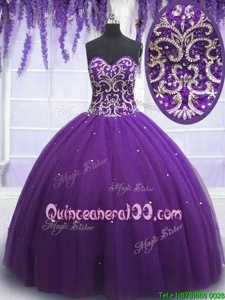 Modern Beading Quinceanera Gown Eggplant Purple Lace Up Sleeveless Floor Length