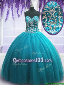 Unique Teal Lace Up Quinceanera Dresses Beading Sleeveless Floor Length