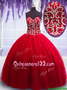Discount Red Lace Up Sweetheart Beading Vestidos de Quinceanera Tulle Sleeveless