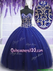 Elegant Sweetheart Sleeveless Vestidos de Quinceanera Floor Length Beading Royal Blue Tulle