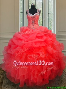 Low Price Coral Red Straps Neckline Beading and Ruffles Quinceanera Dress Sleeveless Zipper
