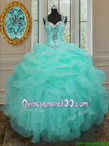Sweet Apple Green Ball Gown Prom Dress Military Ball and Sweet 16 and Quinceanera and For withBeading and Ruffles Straps Sleeveless Zipper