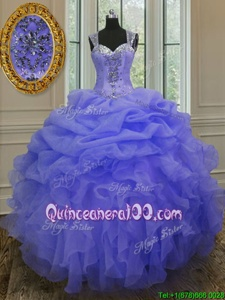 Dynamic Purple Straps Neckline Beading and Ruffles Quinceanera Gowns Sleeveless Zipper