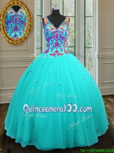 Dramatic Aqua Blue Ball Gowns Beading Quinceanera Dresses Zipper Tulle Sleeveless Floor Length