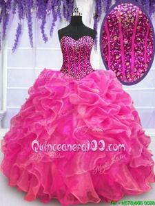 Charming Sleeveless Lace Up Floor Length Beading and Ruffles Sweet 16 Dresses