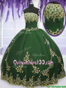 Exquisite Spring and Summer and Fall and Winter Tulle Sleeveless Floor Length Quinceanera Dress andAppliques